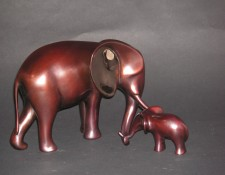 Bronze Sculpture titled Elephant and Baby New by Loet Vanderveen