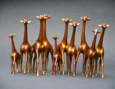 Bronze Sculpture titled Giraffes Alert Large by Loet Vanderveen