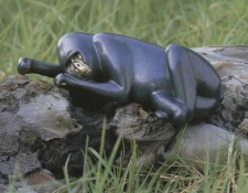 Bronze Sculpture titled Gorilla Reclining by Loet Vanderveen