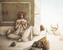 Michael Parkes Art - The Mask Stone Lithograph