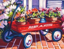 Fine art edition on canvas titled Red Wagon by Steve Barton