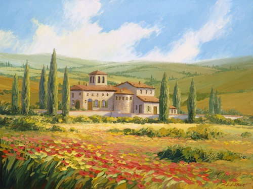 fine art edition on canvas titled chianti villa by charles pabst