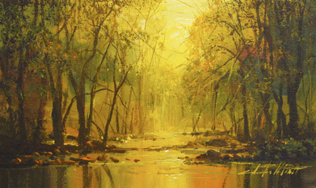 Original Oil Painting fall creek by Charles Pabst