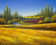 Original oil on canvas titled Golden Serenity by Mario Jung