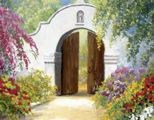 Fine art edition titled Bougainvillea Arch by Charles Pabst