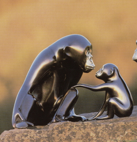 vanderveen bronze - chimp and baby
