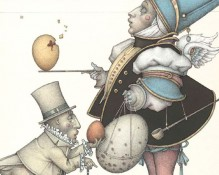 Michael Parkes Art - Egg Collector Stone Lithograph
