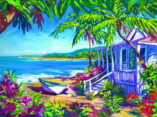 Fine art edition on canvas titled Holly Hut by Steve Barton