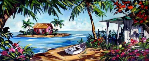 Fine art edition on canvas titled Living in Paradise by Steve Barton