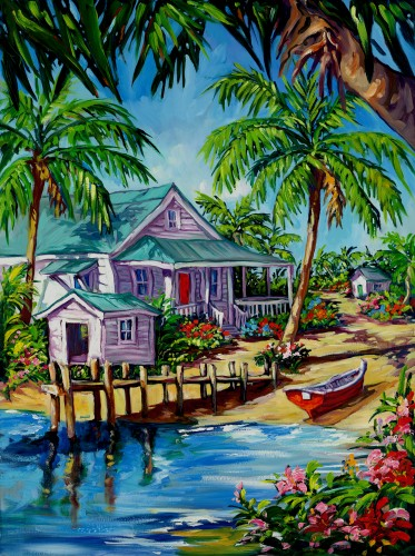 Fine art edition on canvas titled island paradise by steve barton