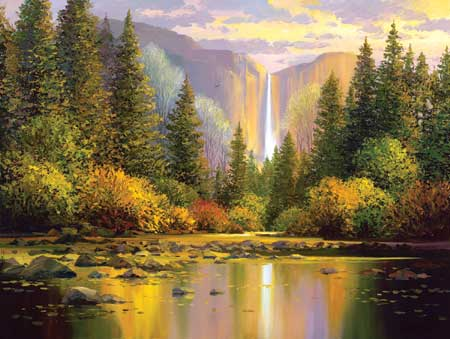 Original Oil painting by artist Charles Pabst titled Yosemite Falls
