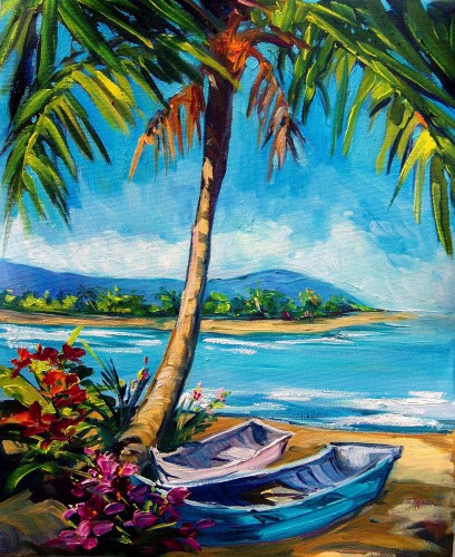 Fine art edition on canvas titled Palm Shade by Steve Barton