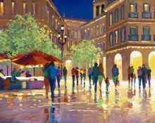 fine art limited edition titled plaza evening by charles pabst