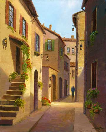 fine art edition on canvas titled village steps by charles pabst