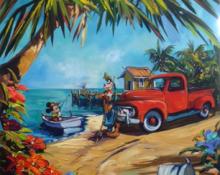 Fine art edition on canvas titled Goofys Fishing Hole by Steve Barton