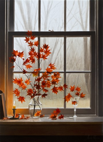 Fine art edition on canvas titled Autumn Window with Oriental Maple by Alexander Volkov