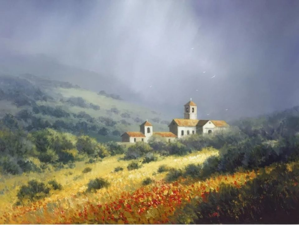 Landscape painting of a church nestled in green hills entitled Bells of the Abbey, by Charles Pabst.