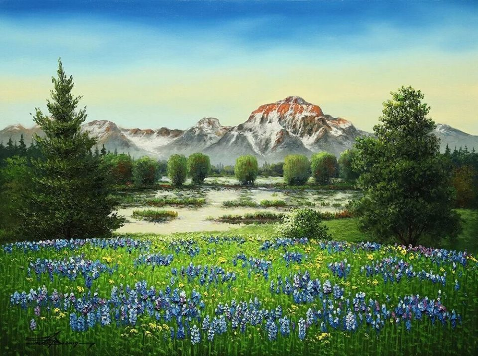 Landscape painting of mountains and wildflowers entitled Blooming In Nature, by Mario Jung